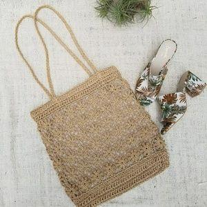 Vintage Jute Raffia Straw Floral Shoulder Tote Bag